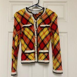 St. John Plaid Knit Jacket SZ 4 *read description*
